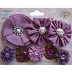 Little Birdie Crafts - Wearables Collection - Accessory - Fabric Flowers - Grape Crush
