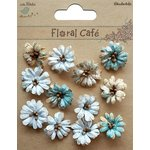 Little Birdie Crafts - Floral Cafe Collection - Printed Petite Daisies - Blue