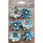 Little Birdie Crafts - Floral Cafe Collection - Printed Venice Petals - Blue