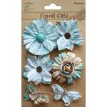 Little Birdie Crafts - Floral Cafe Collection - Printed Paris Petals - Blue