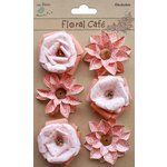 Little Birdie Crafts - Floral Cafe Collection - Printed Milan Petals - Red