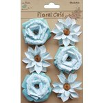 Little Birdie Crafts - Floral Cafe Collection - Printed Milan Petals - Blue