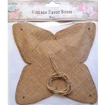 Little Birdie Crafts - Burlap Collection - Gift Box - Pyramid with Ribbon - Large