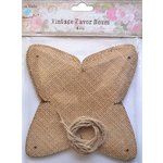 Little Birdie Crafts - Burlap Collection - Gift Box - Pyramid with Ribbon - Medium