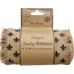 Little Birdie Crafts - Mix Media Collection - Burlap Ribbon - Fleur-de-lis - 6 Inch