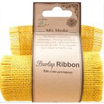 Little Birdie Crafts - Mix Media Collection - Burlap Ribbon - Yellow