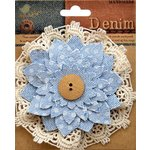 Little Birdie Crafts - Denim Collection - Lace Daisy - Vintage Wash