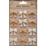 Little Birdie Crafts - Mix Media Collection - Burlap Beaded Bows - Natural and Cream