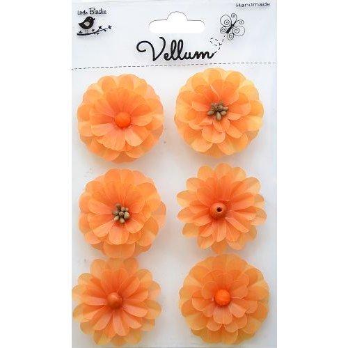Little Birdie Crafts - Vellum Elements Collection - Boutique Flowers - Sunset Orange