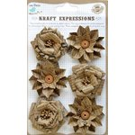 Little Birdie Crafts - Kraft Expressions Collection - Printed Kraft Phoebe Flower - Vintage