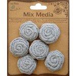 Little Birdie Crafts - Mix Media Collection - Canvas Mini Rose - Galvanized