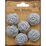 Little Birdie Crafts - Mix Media Collection - Canvas Ribbon Roses - Galvanized