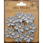 Little Birdie Crafts - Mix Media Collection - Canvas Star Flowers - Galvanized