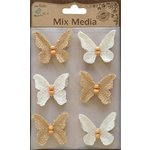 Little Birdie Crafts - Mix Media Collection - Burlap Butterflies - Natural and Cream