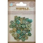 Little Birdie Crafts - Vintaj Collection - Beaded Micro Petals - Rustic Teal