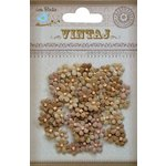 Little Birdie Crafts - Vintaj Collection - Beaded Micro Petals - Rustic Tan