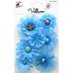 Little Birdie Crafts - Vellum Elements Collection - Symphony Flowers - Cool Blue