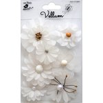 Little Birdie Crafts - Vellum Elements Collection - Symphony Flowers - White