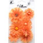 Little Birdie Crafts - Vellum Elements Collection - Symphony Flowers - Sunset Orange