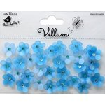 Little Birdie Crafts - Vellum Elements Collection - Jeweled Florettes - Cool Blue