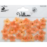 Little Birdie Crafts - Vellum Elements Collection - Jeweled Florettes - Sunset Orange