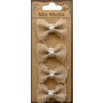 Little Birdie Crafts - Mix Media Collection - Burlap Pearl Bows - Natural