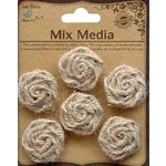 Little Birdie Crafts - Mix Media Collection - Jute Twine Roses - Natural