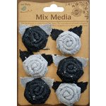 Little Birdie Crafts - Mix Media Collection - Burlap and Canvas Mini Roses with Leaves - Galvanized and Black