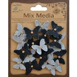 Little Birdie Crafts - Mix Media Collection - Burlap and Canvas Beaded Butterflies - Mini - Galvanized and Black
