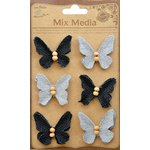Little Birdie Crafts - Mix Media Collection - Burlap and Canvas Beaded Butterflies - Galvanized and Black