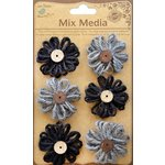 Little Birdie Crafts - Mix Media Collection - Burlap Twine Blooms - Galvanized and Black