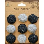 Little Birdie Crafts - Mix Media Collection - Burlap and Canvas Roses - Galvanized and Black