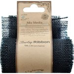 Little Birdie Crafts - Mix Media Collection - Burlap Ribbon - Black