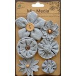 Little Birdie Crafts - Mix Media Collection - Burlap and Canvas Assorted Flowers - Galvanized and Black