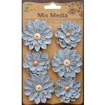 Little Birdie Crafts - Mix Media Collection - Canvas Thin Daisies - Galvanized