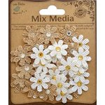 Little Birdie Crafts - Mix Media Collection - Burlap Jeweled Florettes - Natural and Cream