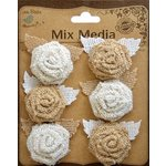 Little Birdie Crafts - Mix Media Collection - Burlap Mini Roses with Leaves - Natural and Cream