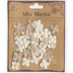 Little Birdie Crafts - Mix Media Collection - Burlap Beaded Petites - Mini - Natural and Cream