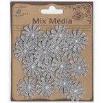 Little Birdie Crafts - Mix Media Collection - Canvas Pearl Daisies - Galvanized