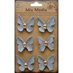 Little Birdie Crafts - Mix Media Collection - Canvas Beaded Butterflies - Galvanized