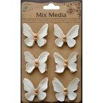Little Birdie Crafts - Mix Media Collection - Canvas Beaded Butterflies - Cream