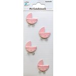 Little Birdie Crafts - Mini Embellishments - Baby Pram - Pink