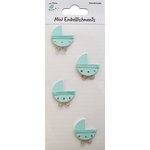 Little Birdie Crafts - Mini Embellishments - Baby Pram - Blue