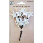Little Birdie Crafts - Handmade Creation Collection - Stemmed Lily Flower - Whites