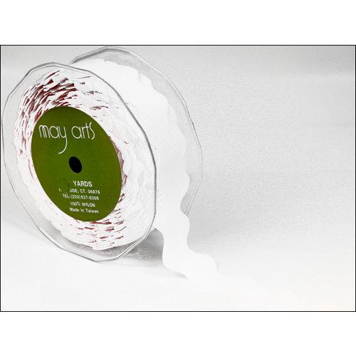 May Arts - Designer Ribbon - Grosgrain Ric Rac - White - 30 Yards