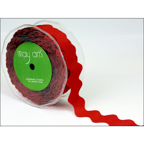 May Arts - Designer Ribbon - Grosgrain Ric Rac - Red - 30 Yards