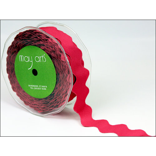 May Arts - Designer Ribbon - Grosgrain Ric Rac - Fuchsia - 30 Yards