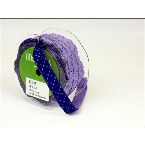 May Arts - Designer Ribbon - Diamond Stitched - Purple and Light Purple - 25 Yards