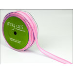 May Arts - Designer Ribbon - Grosgrain with Horizontal Lines - Pink and White - 50 Yards