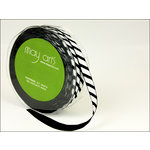 May Arts - Designer Ribbon - Grosgrain with Diagonal Stripes - Black and White - 50 Yards